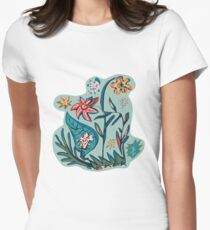 Vintage aqua floral Womens Fitted T-Shirt