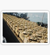 An abundance of Bradley Fighting Vehicles at Pier 8, Busan, South Korea. Sticker
