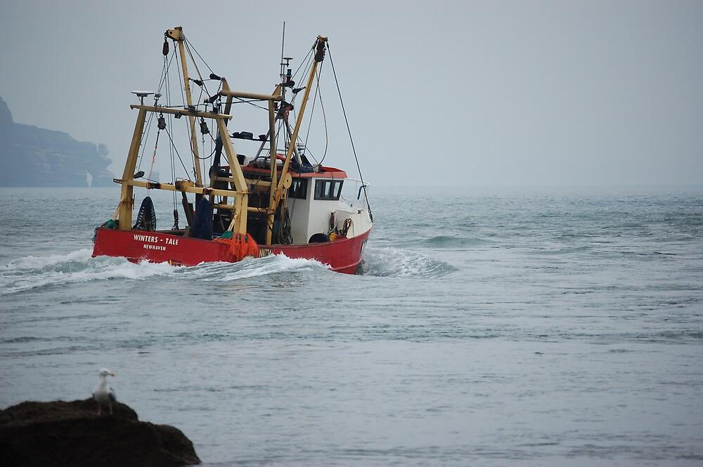 Trawler out to sea Shaldon by sandrab