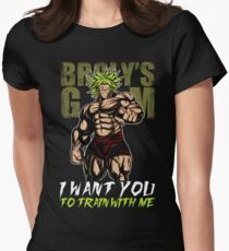 I WANT YOU TO TRAIN WITH ME - Broly's GYM Womens Fitted T-Shirt