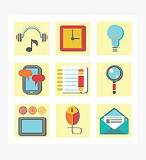 set of flat icons for web appplication Photographic Print
