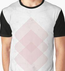 White Marble Scandinavian Geometric Blush Pink Squares Graphic T-Shirt