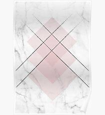 White Marble Scandinavian Geometric Blush Pink Squares Poster