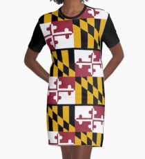 MARYLAND, America, Flag of Maryland, Maryland Flag, Pure & Simple, USA, on BLACK Graphic T-Shirt Dress
