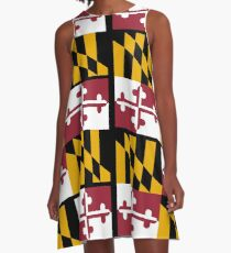 MARYLAND, America, Flag of Maryland, Maryland Flag, Pure & Simple, USA, on BLACK A-Line Dress