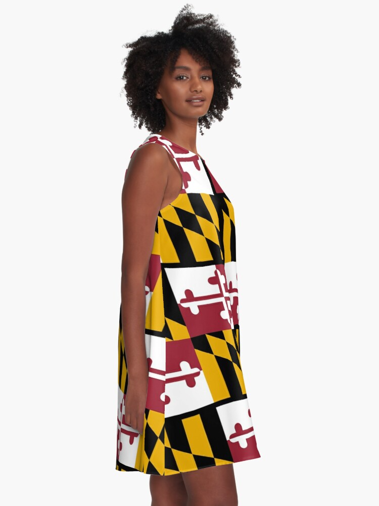 Alternate view of MARYLAND, America, Flag of Maryland, Maryland Flag, Pure & Simple, USA, on BLACK. A-Line Dress