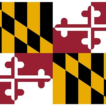 MARYLAND, America, Flag of Maryland, Maryland Flag, Pure & Simple, USA, on BLACK by TOMSREDBUBBLE