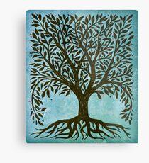 Baum des Lebens Holzschnitt im Blau Metallbild