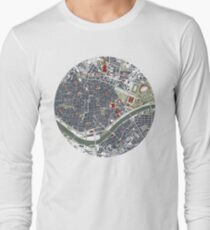 Seville city map engraving Long Sleeve T-Shirt