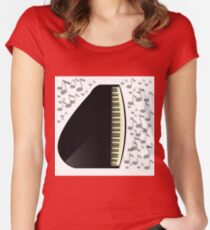 black grand piano icon Women's Fitted Scoop T-Shirt