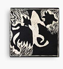Animal lino cut print Canvas Print