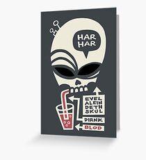 Evel Alein Deth Skul Dirnk Blod Greeting Card