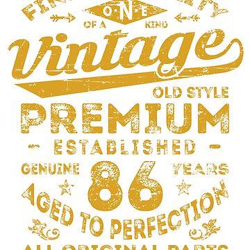 Vintage 86th Birthday Gift Idea by ciddesign