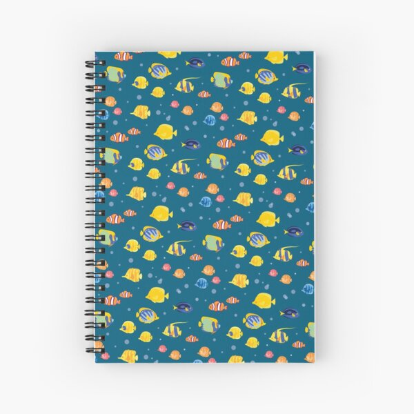 Fishy Pattern - Turquoise Ground Spiral Notebook
