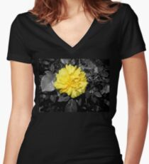 yellow rose, black 05/22/17 Women's Fitted V-Neck T-Shirt