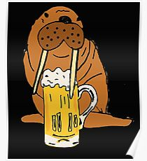Smiletodaytees Funny Walrus Drinking Beer Poster