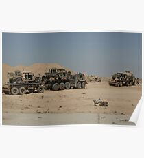 HEMTT trucks carry combat modified versions of M998 humvees. Poster