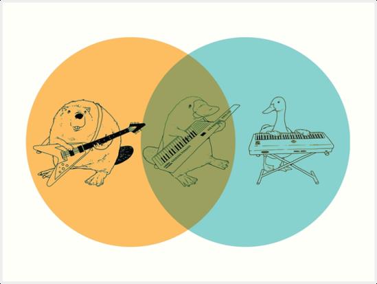Keytar Platypus Venn Diagram Ogb Art Prints By Guyblank Redbubble
