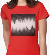 Black and white foggy mirrored forest Womens Fitted T-Shirt