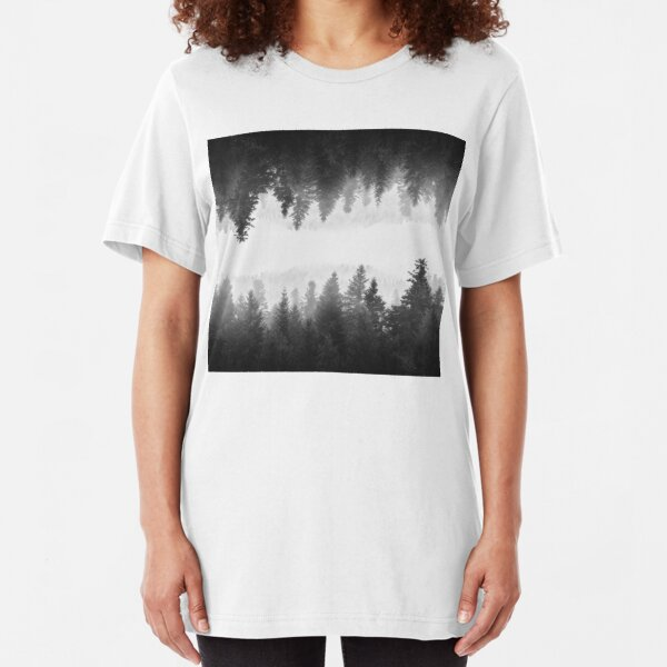 Black and white foggy mirrored forest Slim Fit T-Shirt