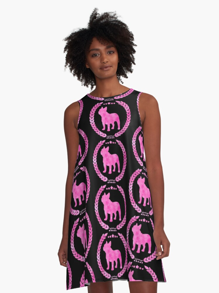 Frenchie Camo Pink A-Line Dress Front