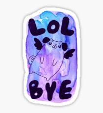 Lol Bye - Chubby Flying Pug Sticker