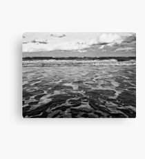Sea Foam Landscape - Black & White Canvas Print