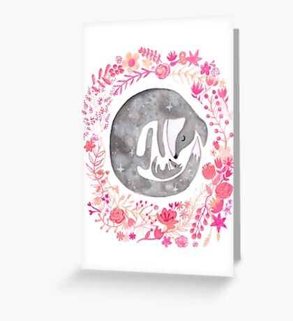 Little Luna Fox (Grey) - By Merrin Dorothy Greeting Card