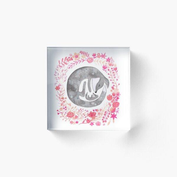 Little Luna Fox (Grey) - By Merrin Dorothy Acrylic Block
