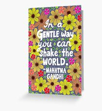 In A Gentle Way You Can Shake The World, Mahatma Gandhi Quote, Lettering, Flowers And Leaves Doodle, Inspirational Greeting Card