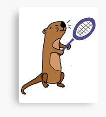 Funny Awesome Sea Otter Playing Tennis Art Canvas Print