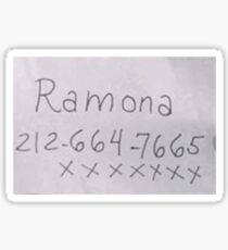 Ramona's phone number - scott pilgrim vs the world Sticker