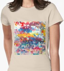 Geometric Oil Rainbow Womens Fitted T-Shirt