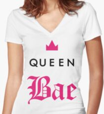 Queen Bae Women's Fitted V-Neck T-Shirt