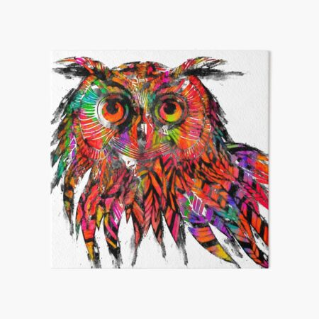 Colorful Owl Drawing Art Board Print