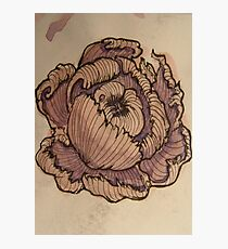 Watercolor and ink flower sketch Photographic Print