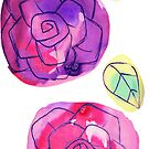 Simple Watercolor Roses and Leaves by SaradaBoru