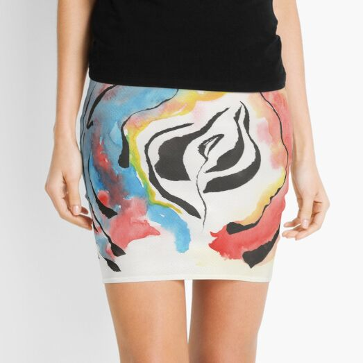 grow up watercolor painting Mini Skirt