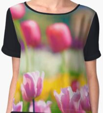 Watercolor Tulips Chiffon Top