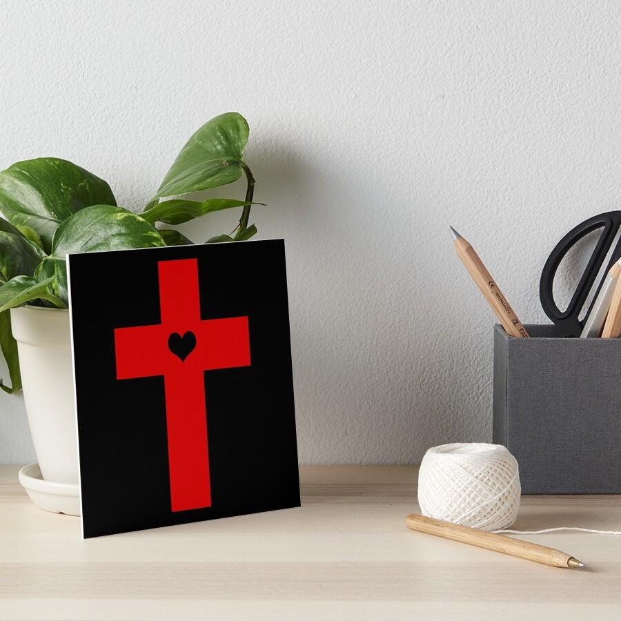 Judas Heart Cross Art Board Print