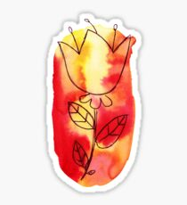 Red Yellow Watercolor Ombre Flower Sticker