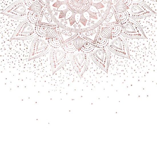 Elegant Rose Gold Mandala Confetti Design Posters By Inovarts