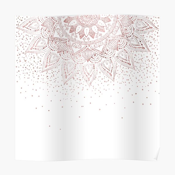 Elegant rose gold mandala confetti design Poster