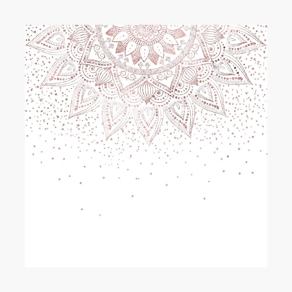 Eleganter Rosengoldmandala-Konfettientwurf Fotodruck