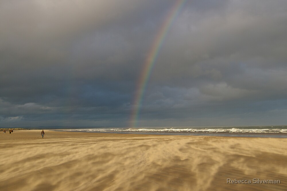 Rainbow in a Sandstorm, St Andrews Beach, Scotland by Rebecca Silverman