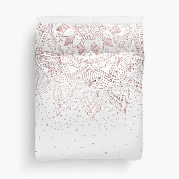 Elegant rose gold mandala confetti design Duvet Cover
