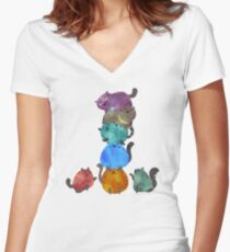A Pile Of Cats Women's Fitted V-Neck T-Shirt