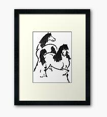Vintage Horse Buddies  Framed Print