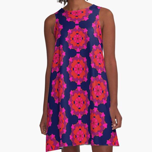 Retro Rose A-Line Dress