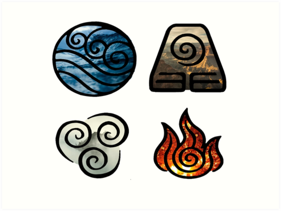 Avatar The Last Airbender Element Symbols Art Prints By